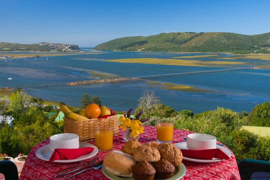 Breakfast with a view of Knysna Lagoon. Self catering suite Paradise Found accommodation in Knysna