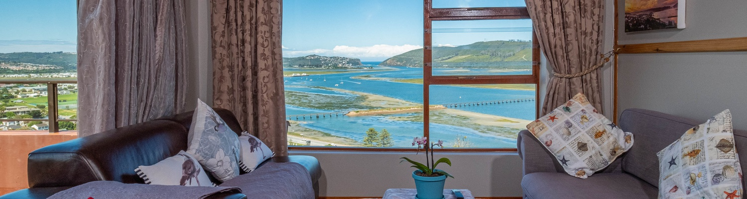 A magnificent view overlooking Knysna Lagoon, from every window, door and patio