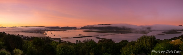 This beautiful sunrise panorama of Knysna Lagoon was photographed from Paradise Found