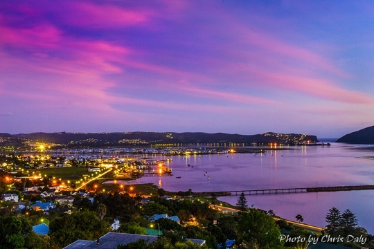 Evening view of Knysna. Actual view from Paradise Found. Photo by Chris Daly.Actual view from Paradise Found. Photo by Chris Daly.