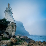 Beacon at the Knysna Heads on a misty morning.