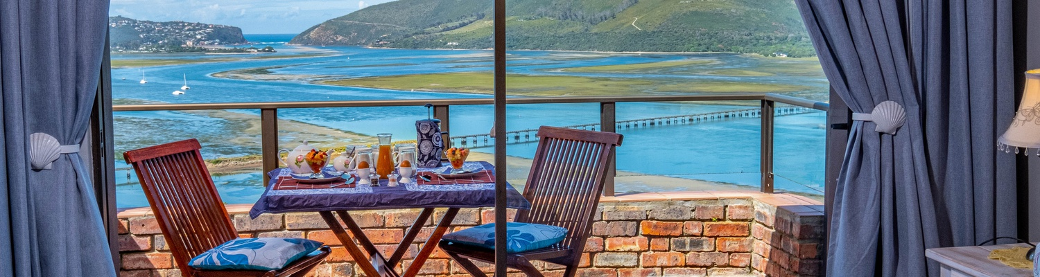 The B&B suites have a magnificent view overlooking Knysna Lagoon, Harbor and Heads