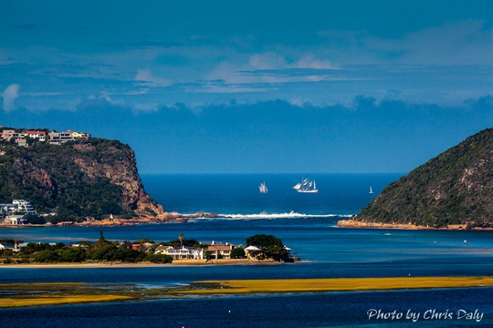 Tall ship passing Knysna Heads. Actual zoom view from Paradise Found. Photo by Chris Daly.