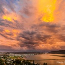Knysna Lagoon, dramatic sky.  Actual view from Paradise Found. Photo by Chris Daly.
