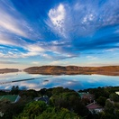Panaroma view of Knysna Lagoon. Actual view from Paradise Found. Photo by Chris Daly.