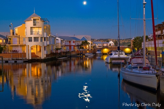Yachts under the moonlight, Knysna Boats