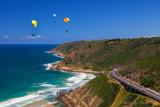 Paragliding over Kaaimans river mouth at Wilderness