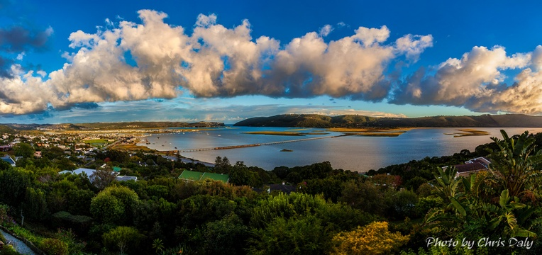 Panoramic view of Knysna Lagoon. Actual view from Paradise Found. Photo by Chris Daly.