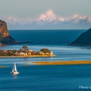 Knysna Heads. Actual zoomed view from Paradise Found. Photo by Chris Daly.