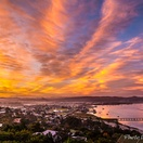 Sunrise over Knysna Lagoon.  Actual view from Paradise Found. Photo by Chris Daly.