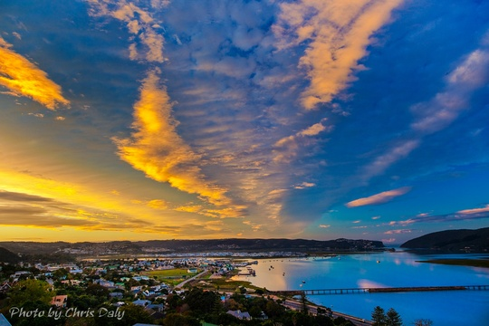 Sunrise, Knysna Lagoon.  Actual view from Paradise Found. Photo by Chris Daly.
