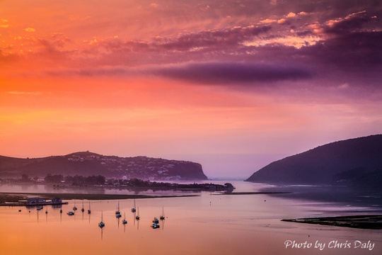 Sunrise, Knysna Heads.  Actual zoom view from Paradise Found. Photo by Chris Daly