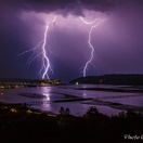 Lightning over Knysna lagoon. Actual view from Paradise Found. Photo by Chris Daly.
